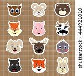 baby animal stickers.... | Shutterstock .eps vector #444921010