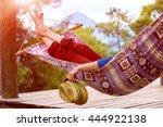 person relaxing in hummock... | Shutterstock . vector #444922138