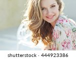 beautiful woman smiling | Shutterstock . vector #444923386