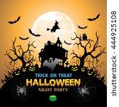 halloween night party orange... | Shutterstock .eps vector #444925108