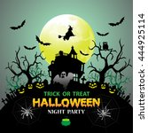 halloween night party green... | Shutterstock .eps vector #444925114