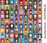 set of people icons in flat... | Shutterstock .eps vector #444928618