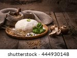 pizza dough on old wooden table | Shutterstock . vector #444930148