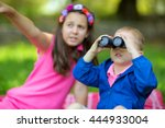 boy and girl exploring the... | Shutterstock . vector #444933004