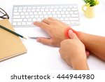hand pain with red alert accent   Shutterstock . vector #444944980
