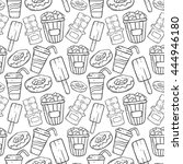 seamless pattern of junk food... | Shutterstock .eps vector #444946180