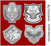stickers and patches for bikers ... | Shutterstock .eps vector #444954178