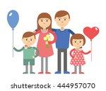 happy family with children.... | Shutterstock .eps vector #444957070
