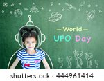 world ufo day and outer space... | Shutterstock . vector #444961414