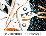 flat lay feminini clothes and... | Shutterstock . vector #444964084
