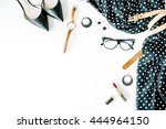 flat lay feminini clothes and... | Shutterstock . vector #444964150
