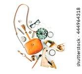 flat lay feminini accessories... | Shutterstock . vector #444964318