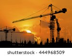 silhouette of construction site ... | Shutterstock . vector #444968509