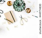 feminini desk workspace with... | Shutterstock . vector #444974830