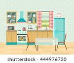 kitchen interior cozy home food ... | Shutterstock .eps vector #444976720
