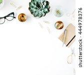 feminine desk workspace with... | Shutterstock . vector #444978376