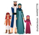 arabian man and woman family... | Shutterstock .eps vector #444987778