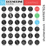 vector camping circle white... | Shutterstock .eps vector #444987826