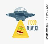 food delivery logo colorful.ufo ... | Shutterstock .eps vector #444988120