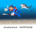 diver among reeves float to the ... | Shutterstock .eps vector #444992668