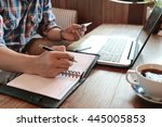 hand write note on paper with...   Shutterstock . vector #445005853