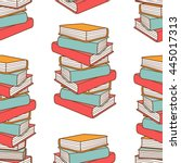 pile of books hand drawn vector.... | Shutterstock .eps vector #445017313