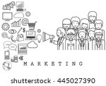 marketing team on white... | Shutterstock .eps vector #445027390