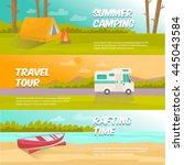 summer camping horizontal... | Shutterstock .eps vector #445043584