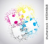 puzzle pieces with paint splash ... | Shutterstock .eps vector #445044868