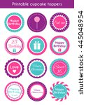 printable cupcake toppers. set...   Shutterstock . vector #445048954