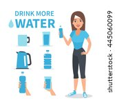 vector water infographic... | Shutterstock .eps vector #445060099