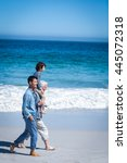 male family members walking at... | Shutterstock . vector #445072318