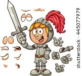 cartoon knight with different... | Shutterstock .eps vector #445077979