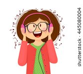 portrait of a girl listening to ... | Shutterstock .eps vector #445080004
