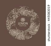 background with lemon. hand... | Shutterstock .eps vector #445083019