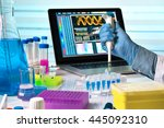 scientist holding dropper and... | Shutterstock . vector #445092310