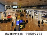 HELSINKI, FINLAND - NOVEMBER 16, 2015:Travelers and shops at Helsinki International Airport. This is Helsinki International Airport. November 16, 2015 Helsinki, Finland - stock photo