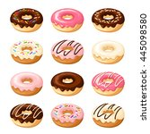 set of twelve donuts with white ... | Shutterstock .eps vector #445098580