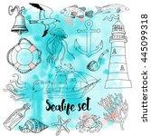 vector set of hand drawn linear ... | Shutterstock .eps vector #445099318