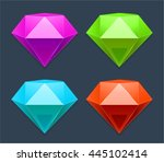 colorful diamonds icons | Shutterstock .eps vector #445102414