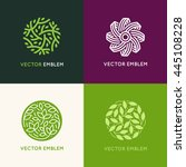 Vector set of abstract green logo design templates - emblems for holistic medicine centers, yoga classes, natural and organic food products and packaging - circles made with leaves and flowers | Shutterstock vector #445108228