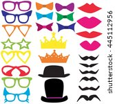 isolated set for a masquerade... | Shutterstock . vector #445112956
