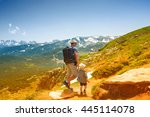 father and his little son near... | Shutterstock . vector #445114078