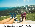 legs of traveler family sitting ... | Shutterstock . vector #445115074