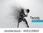 silhouette of a tennis player... | Shutterstock .eps vector #445115803