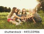 children eating lollipops... | Shutterstock . vector #445133986