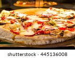 fresh italian pizza   close up.  | Shutterstock . vector #445136008