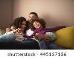 cute african american family... | Shutterstock . vector #445137136