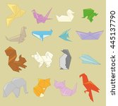 origami animals | Shutterstock . vector #445137790