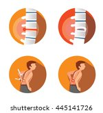 set of  four flat icons with... | Shutterstock .eps vector #445141726